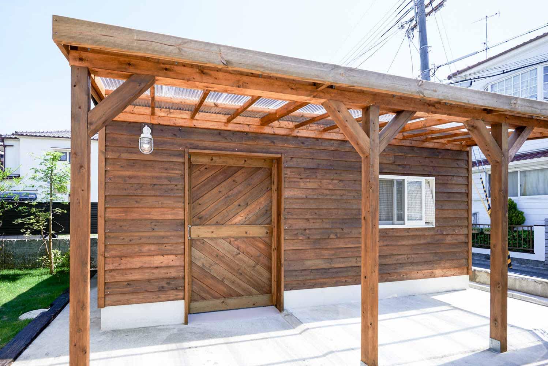 大人の秘密基地としての庭小屋の外観