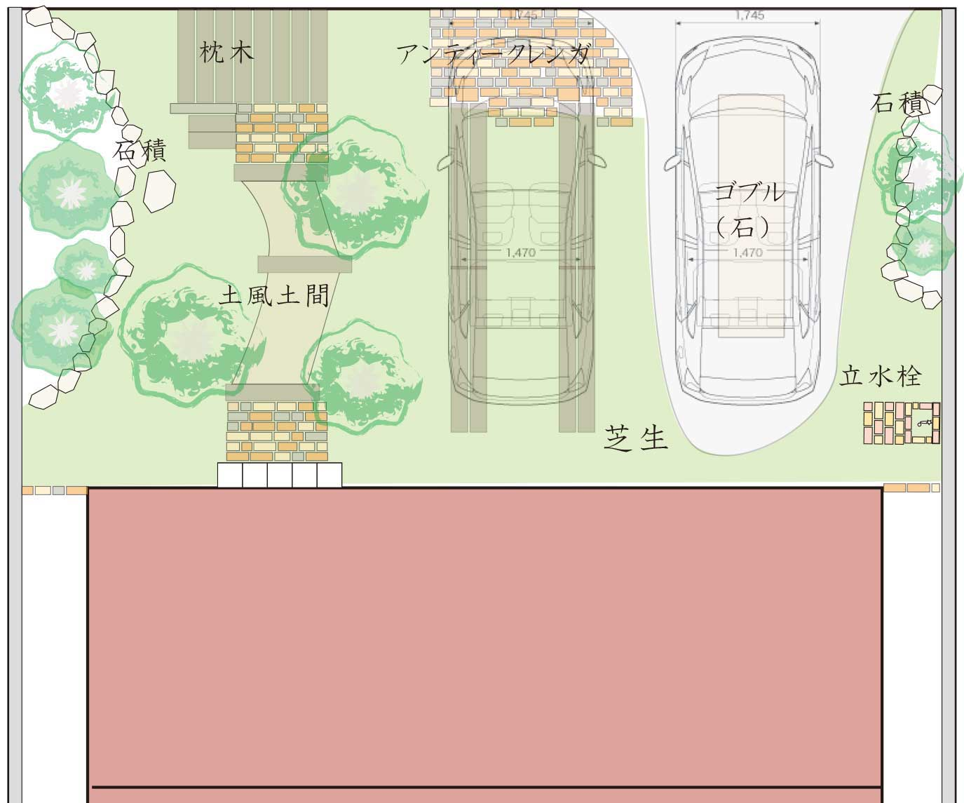 ナチュラルなデザインの駐車場