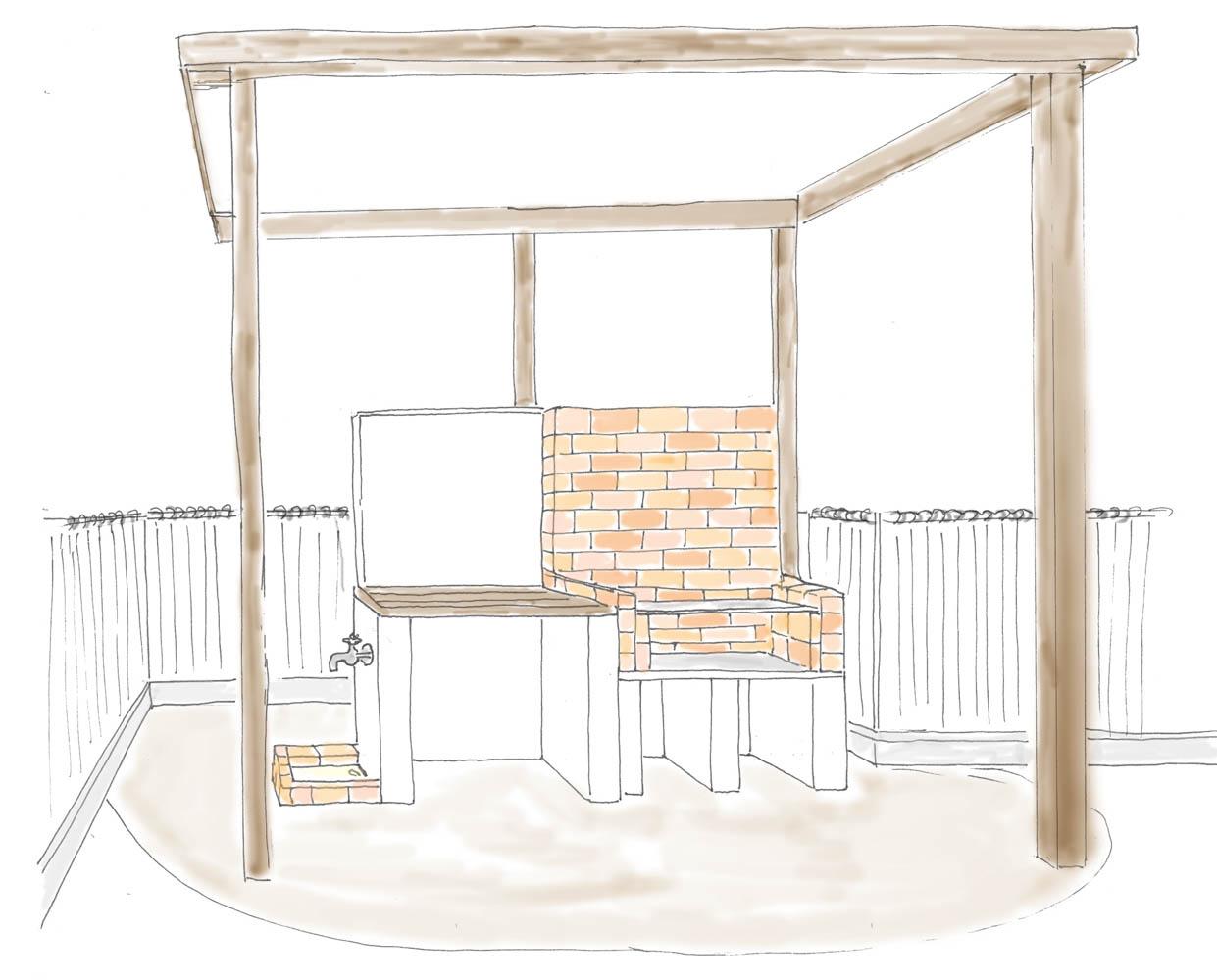 新築の庭の一角にレンガのBBQコンロを設置