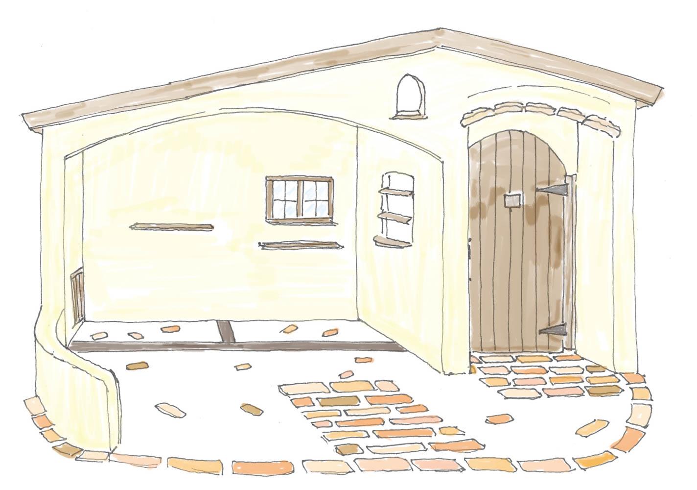 フィトライフのイタリア製漆喰塗りの庭小屋のご提案用のスケッチ