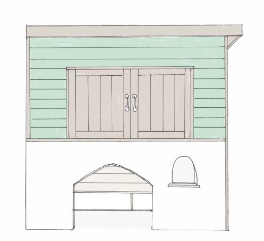 ウッドデッキの上のオリジナル犬小屋