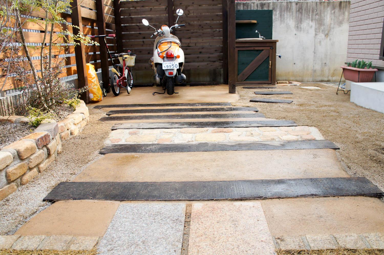 木製バイク置き場の制作と花壇やシンクのリフォーム