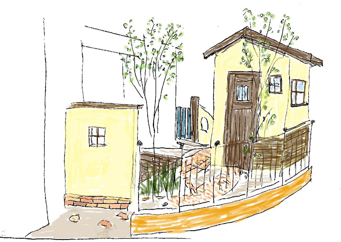 フィトライフの大人テイストの小さな庭小屋(提案用のスケッチ)
