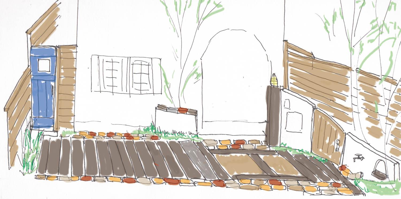 駐車場と庭の共生