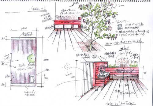 2階建ての庭のスケッチ