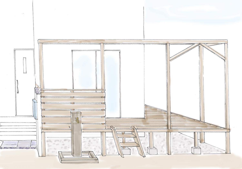 ハンモック吊りのあるウッドデッキ